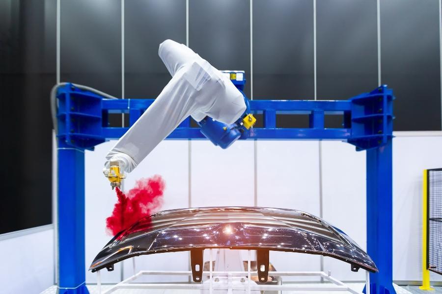 Roboterarm Lackierspray Autoteil inhaltsstoffe-von-lacken