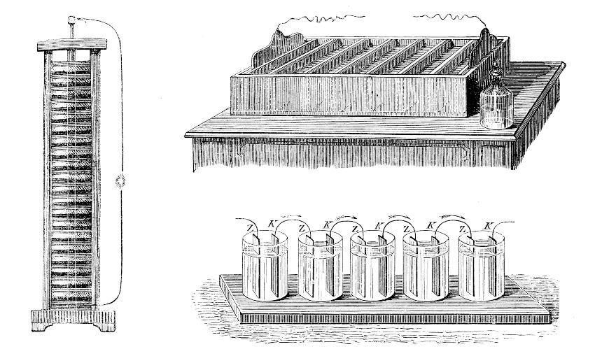 Zeichnung von Alessandro Voltas Säule